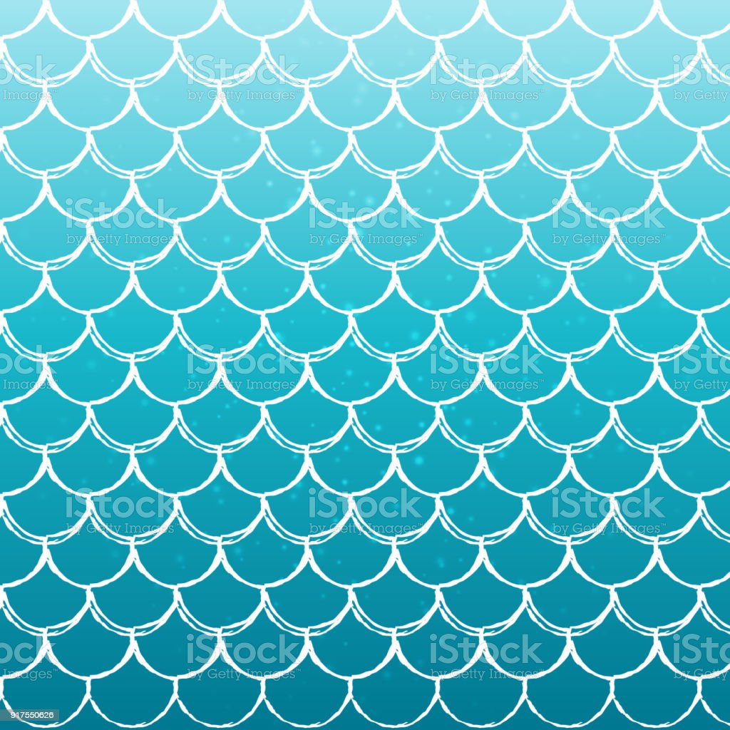 Fish scale and mermaid background vector art illustration