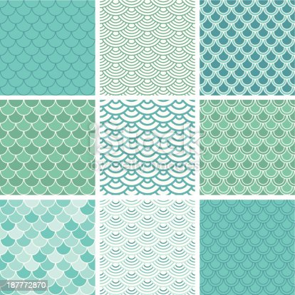 Fish scale seamless pattern set. Easy to change color.