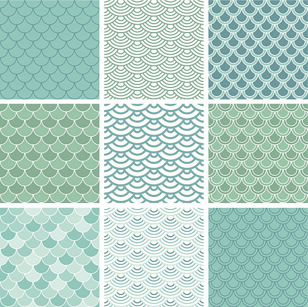 Fish scale seamless pattern set vector art illustration