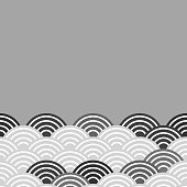 fish scales simple Nature background with japanese sakura flower, white Black, wave circle pattern card banner design on grey background. Vector