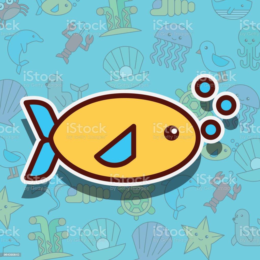 魚海の生活漫画 - イラストレーションのロイヤリティフリーベクトルアート