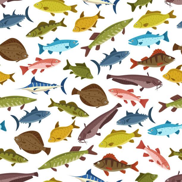 Fish seafood seamless pattern background design vector art illustration