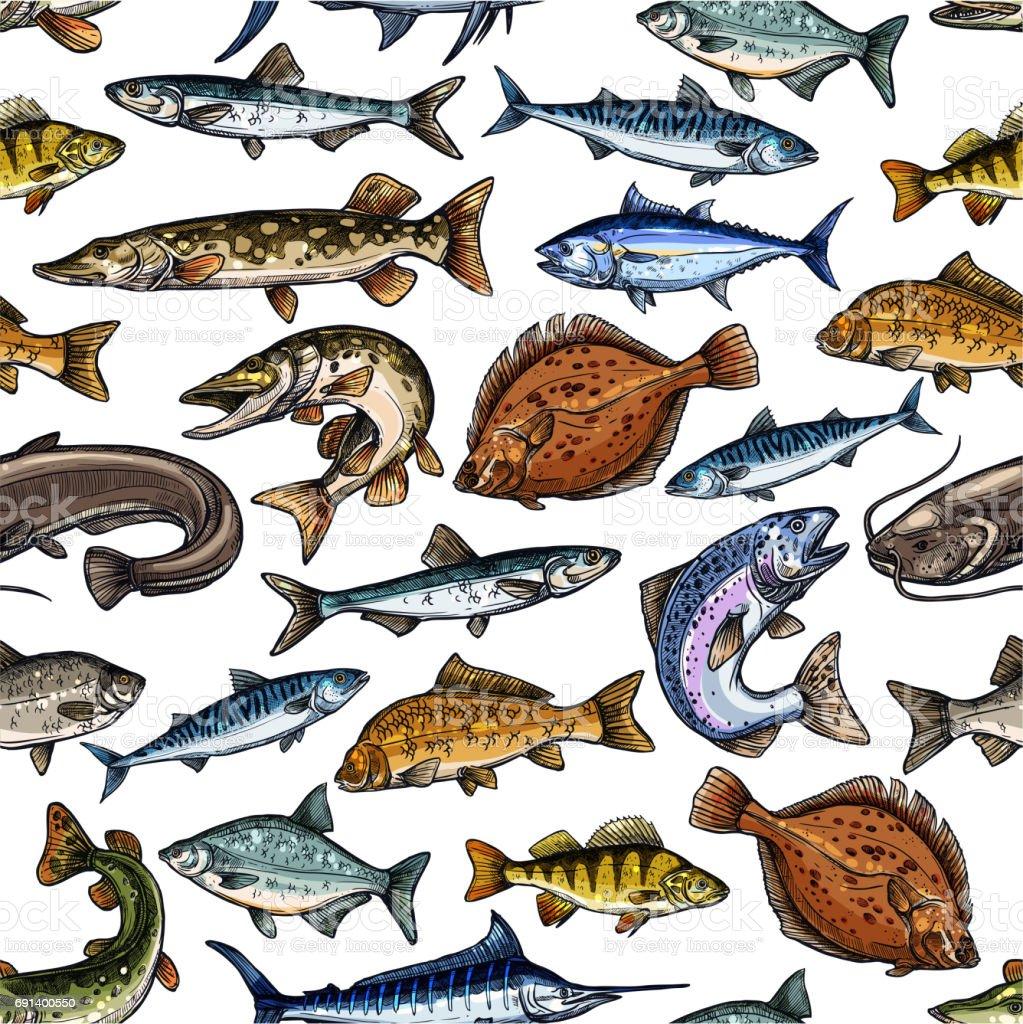 Modèle sans couture de poisson pour la conception de produits de la mer - Illustration vectorielle
