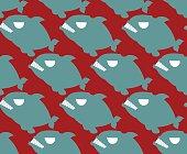 Fish seamless pattern. Naval Piranha predatory fish vector backg