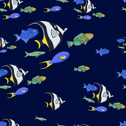Fish seamless pattern with moorish idol, vector illustration. Wallpaper, wrapping or fabric design with ocean fishes