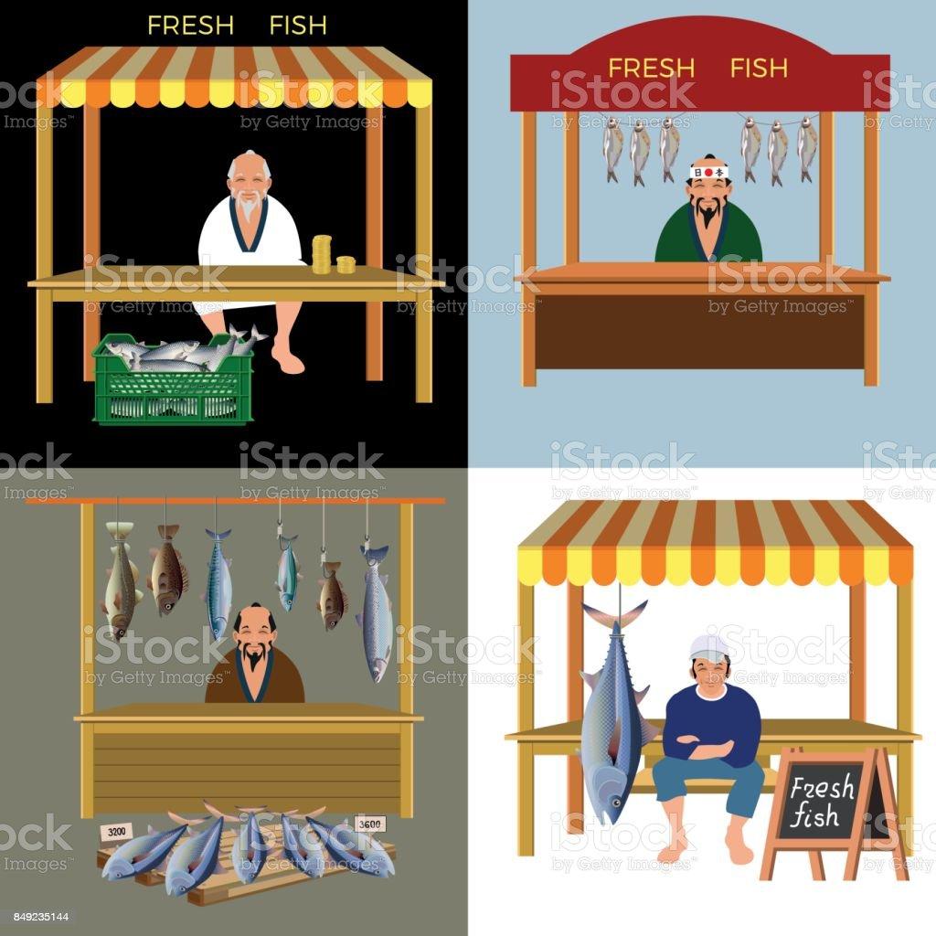 Fish seller vector vector art illustration