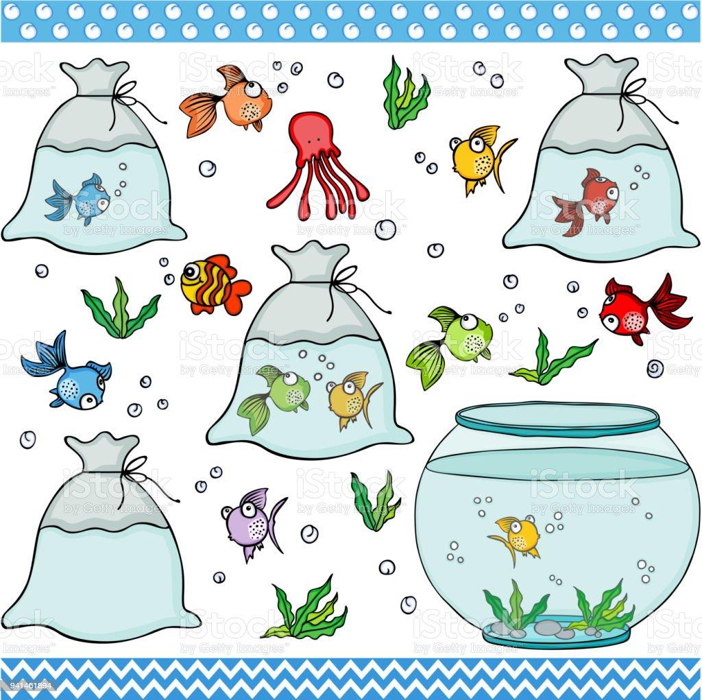 Peixe definir elementos digitais - ilustração de arte em vetor