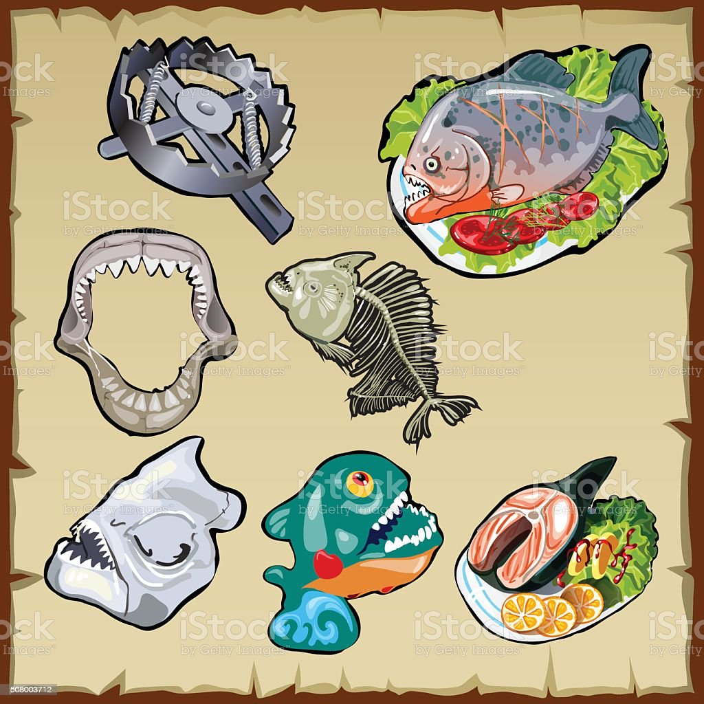 Fish set, traps, jaw and other image of piranha vector art illustration