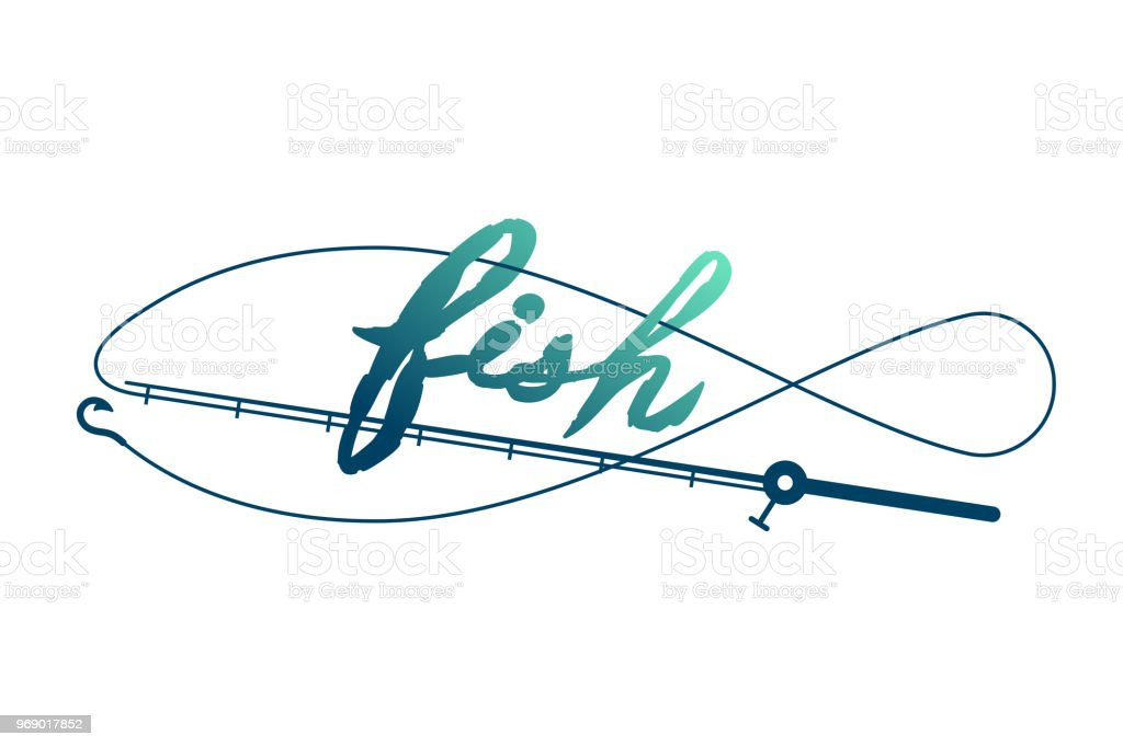 Fish Shape Made From Fishing Rod Frame Symbol Icon Set Design Green