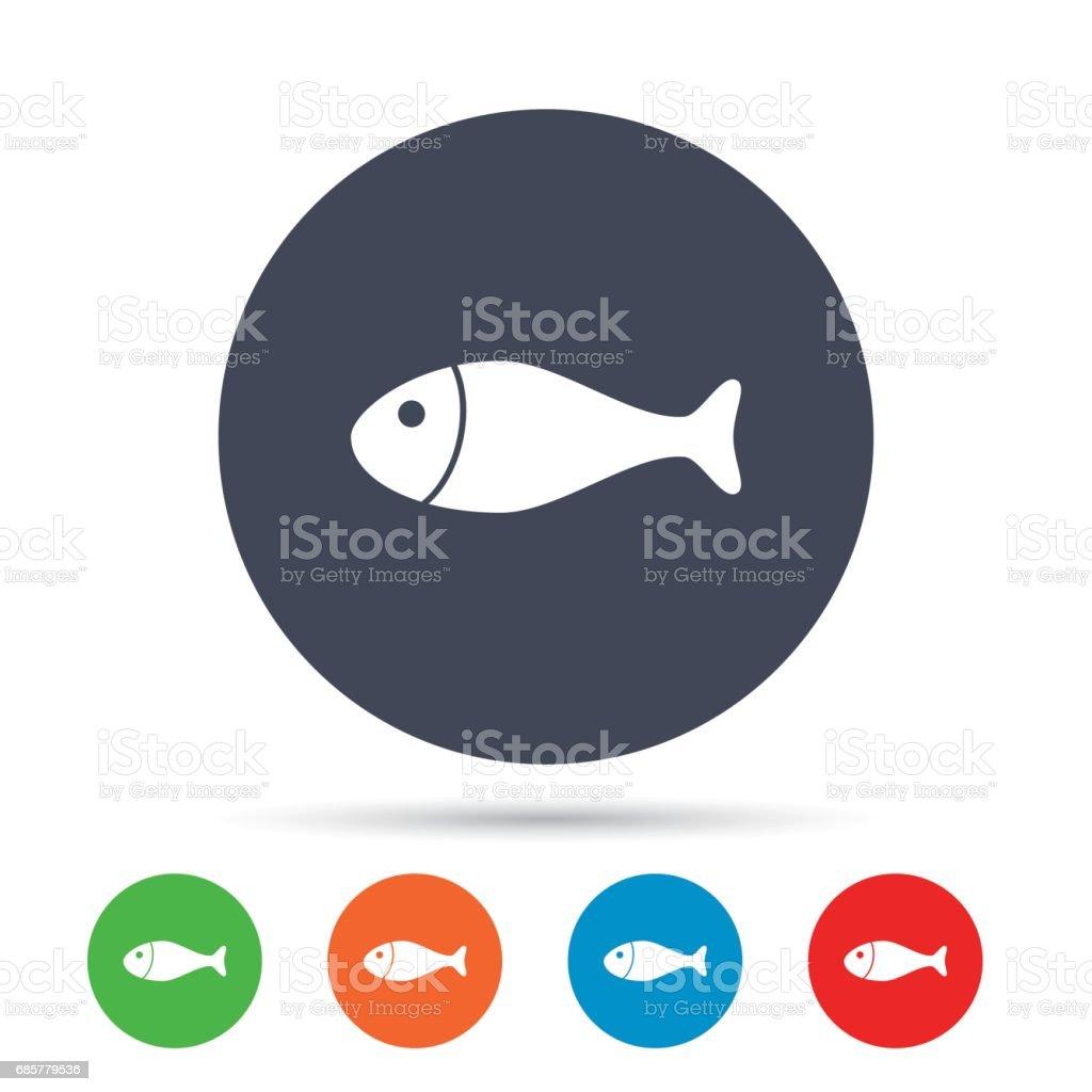 Icône de signe de poisson. Symbole de la pêche. icône de signe de poisson symbole de la pêche – cliparts vectoriels et plus d'images de aliment libre de droits