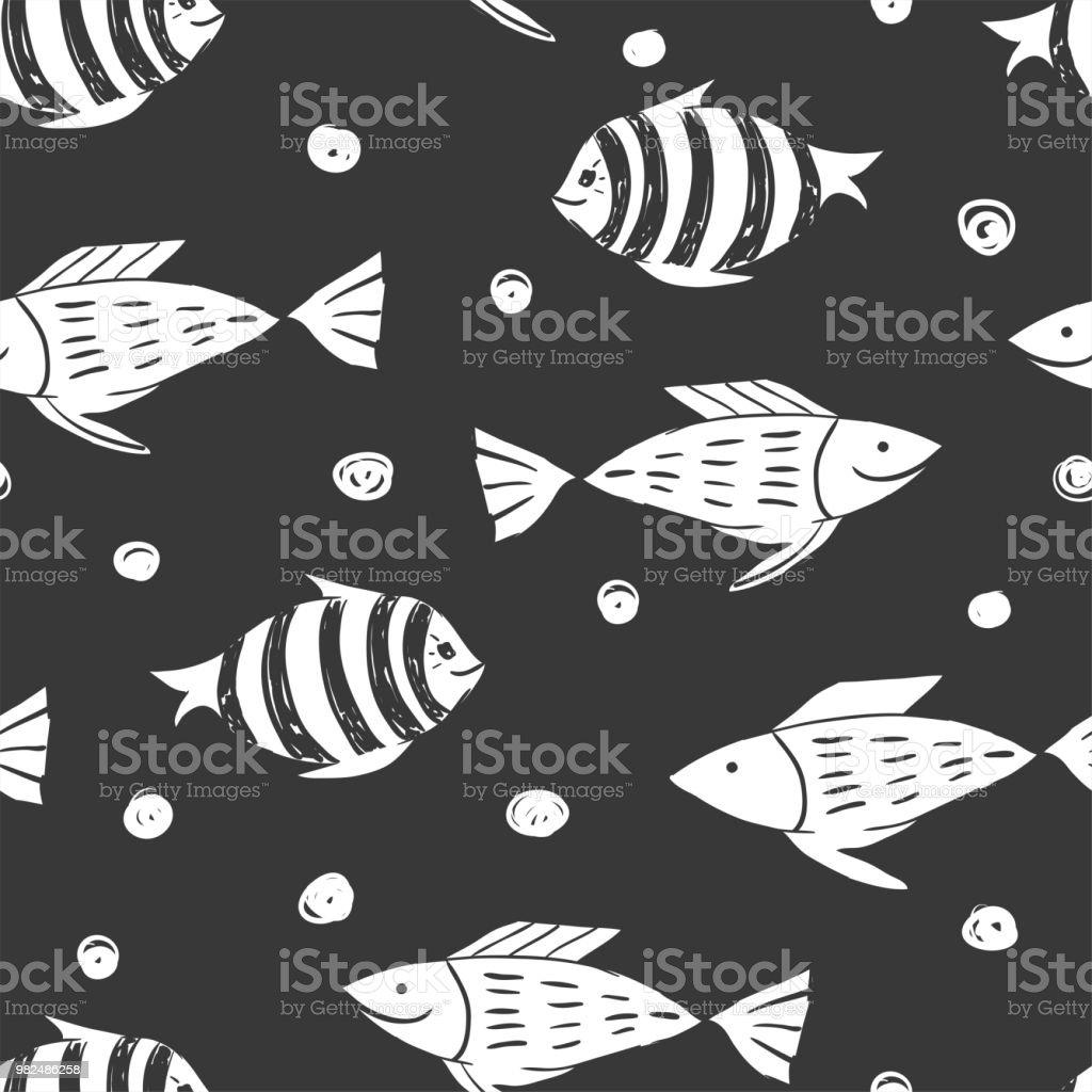 Poisson simple sketh dessiné par modèle sans couture main dans un style dessin animé. Pour fonds d'écran, fond web, textile, emballage, tissu, enfants design - Illustration vectorielle