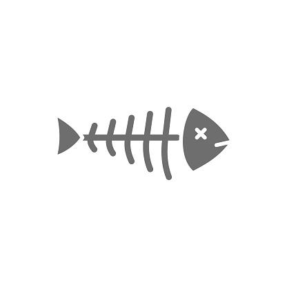 Fish skeleton, fishbone grey icon. Isolated on white background