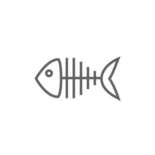 fish skeleton line icon - fish skeleton stock illustrations, clip art, cartoons, & icons