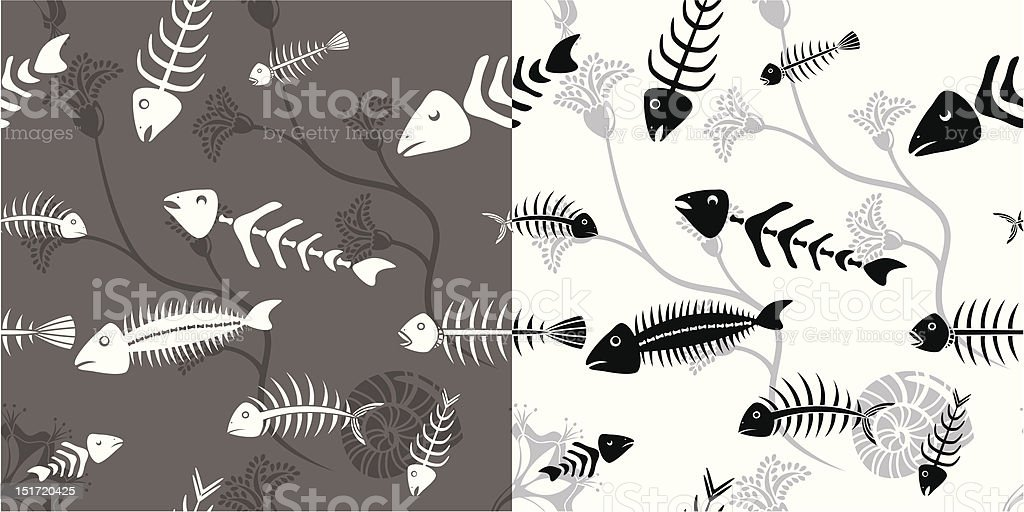 Fish skeleton seamless royalty-free stock vector art