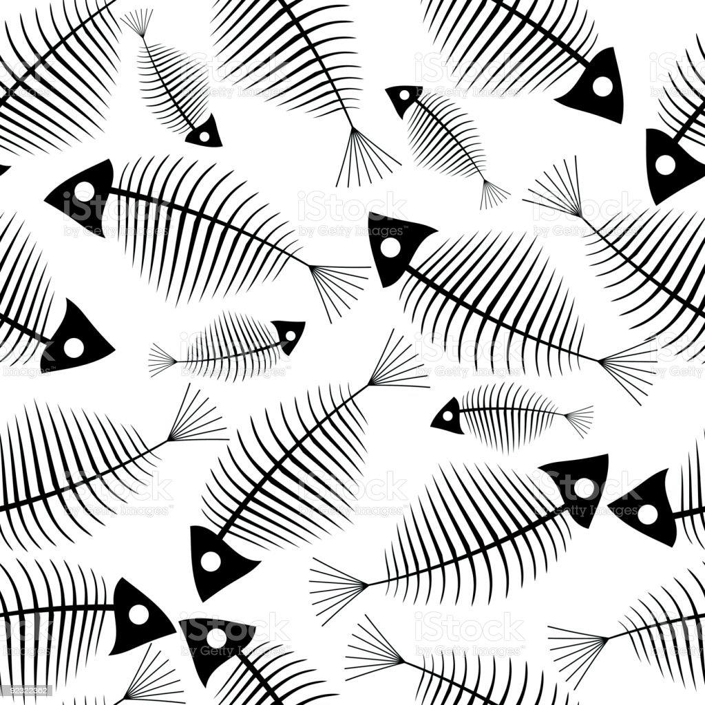 Fish skeleton seamless vector wallpaper vector art illustration