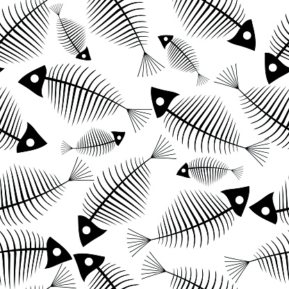 Fish Skeleton Seamless Vector Wallpaper Stock Illustration - Download Image Now