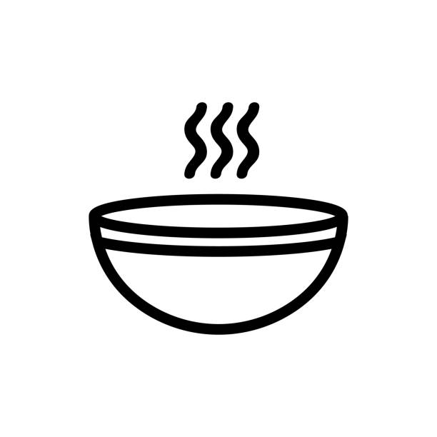 stockillustraties, clipart, cartoons en iconen met de pictogrampictogramvector van de vissoep. geïsoleerde illustratie van het contoursymbool - meat pan