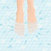 Female feet receiving Fish SPA treatment for beautiful skin.