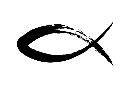 Fish symbol hand painted with ink brush, Christian religious faith emblem isolated on white background. Vector illustration.