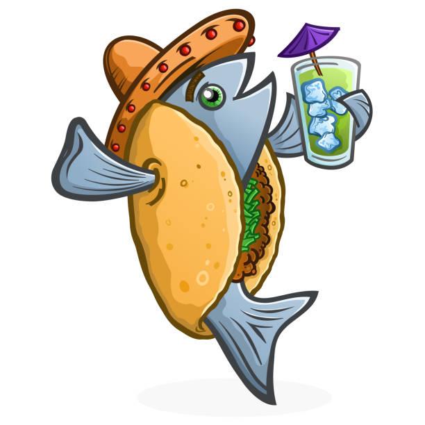fisch-taco-cartoon-figur hält einen tropischen drink - fischglas stock-grafiken, -clipart, -cartoons und -symbole