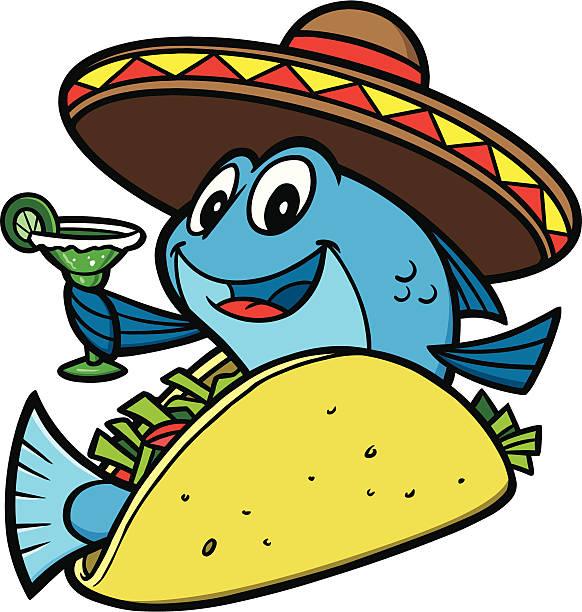 cartoon fisch-tacos - fischglas stock-grafiken, -clipart, -cartoons und -symbole