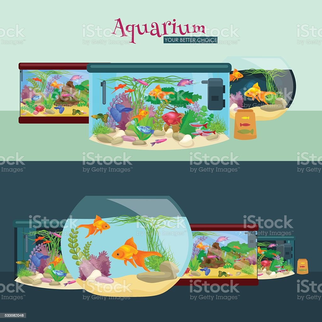 Fish tank, aquarium with water, animals, algae, corals, equipment vector art illustration