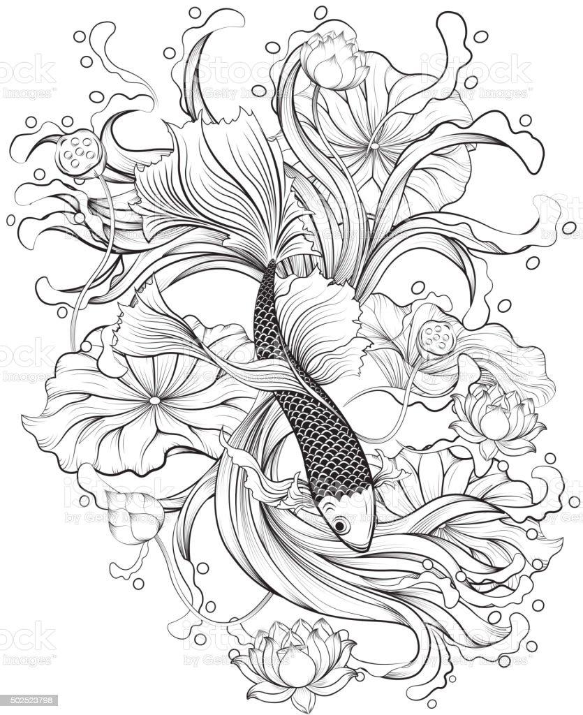 Tatuaje de pescado - ilustración de arte vectorial