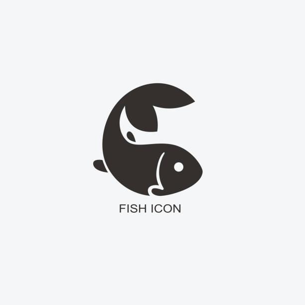fisch-vorlage für design. ikone der meeresfrüchte-restaurant. illustration des flachen grafikstil - lachs meeresfrüchte stock-grafiken, -clipart, -cartoons und -symbole