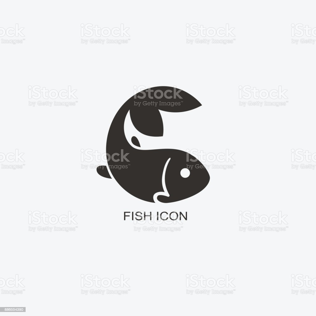 Fish template for design. Icon of seafood restaurant. Illustration of graphic flat style vector art illustration