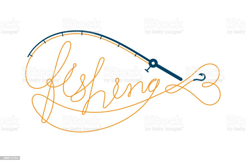 Fish Text Made From Fishing Rod Frame Fish Shape Symbol Icon Set