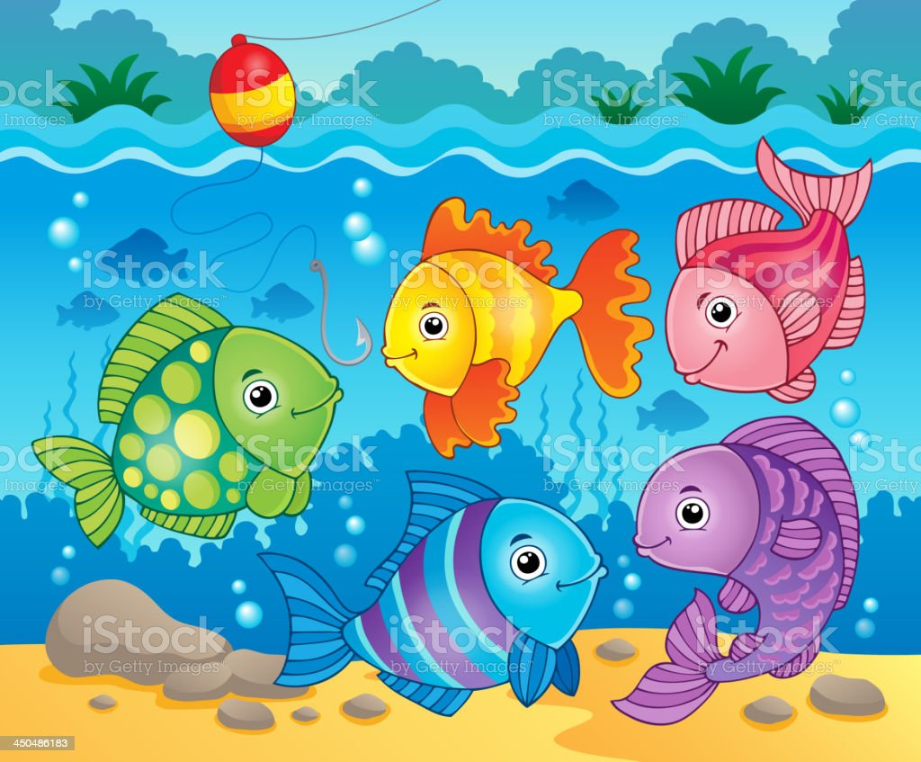 Fish theme image 6 royalty-free stock vector art