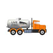 Fish transport tank with pictured salmon head. Vector illustration isolated on white background