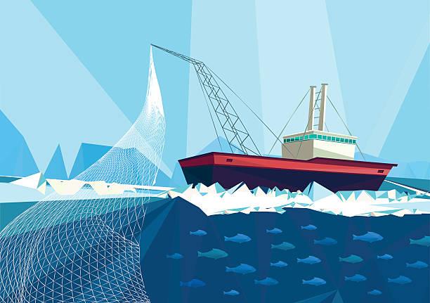 fish trawler vector art illustration