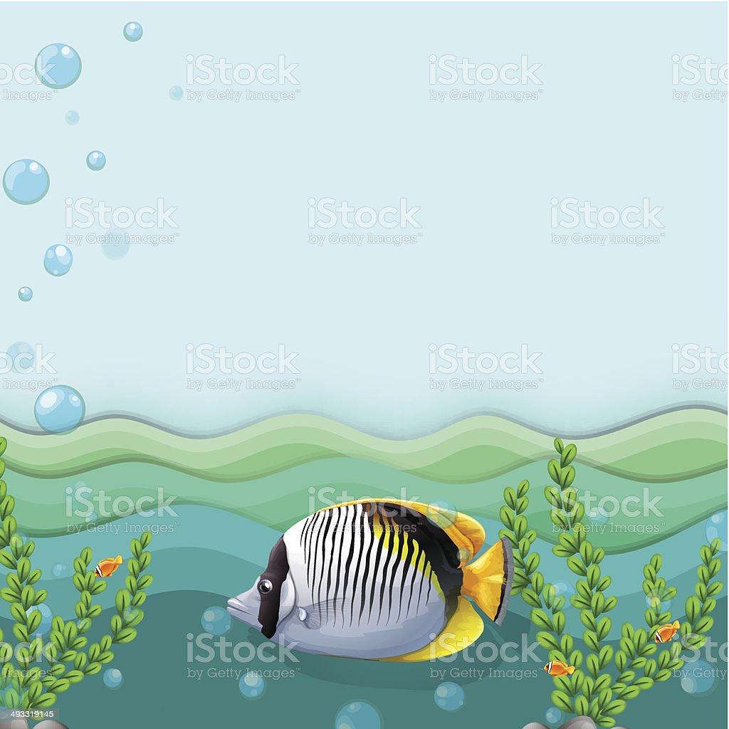 Fish under the sea vector art illustration