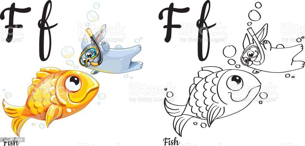 Pescado Letra Del Alfabeto Vector F Página Para Colorear - Arte ...