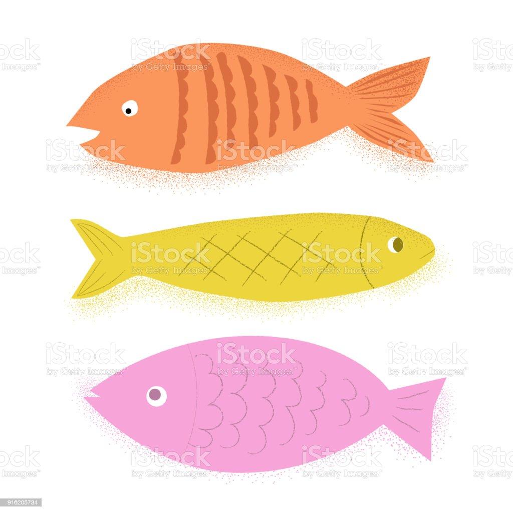 3 Fish vector art illustration