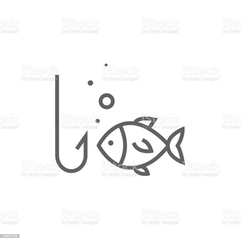 Fisch mit Haken Linie-icon – Vektorgrafik