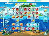 Fish world- playing field for the computer game or web