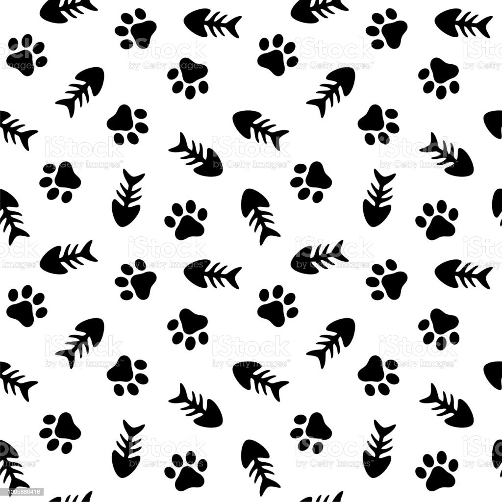 fishbone and paw seamless pattern stock vector art more images of