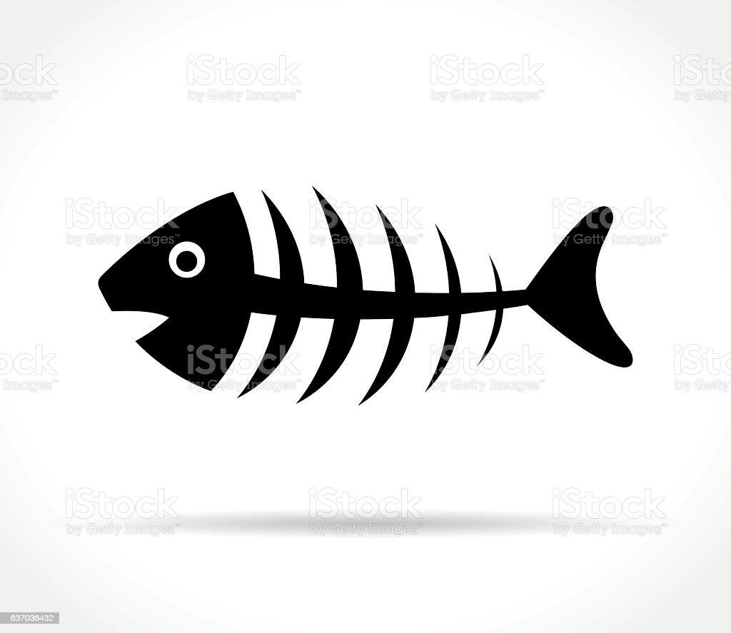 fishbone icon on white background vector art illustration