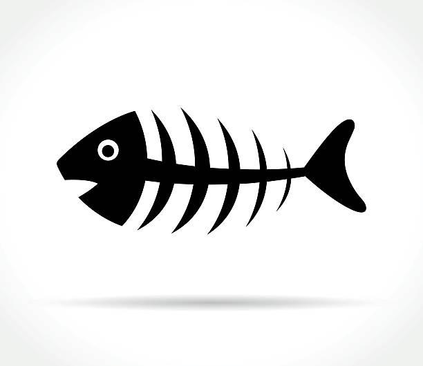 fishbone icon on white background - 魚の骨点のイラスト素材/クリップアート素材/マンガ素材/アイコン素材