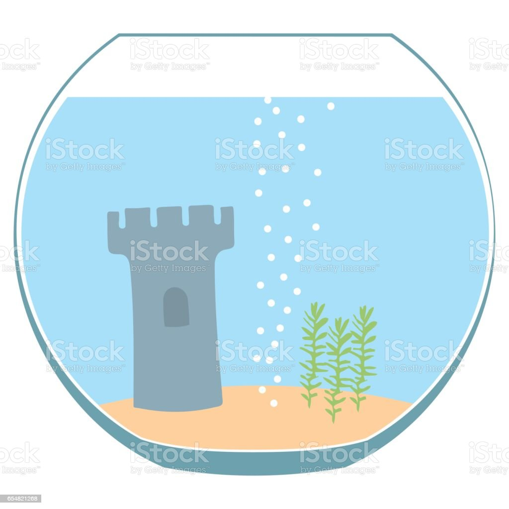 Fishbowl aquarium isolated vector art illustration