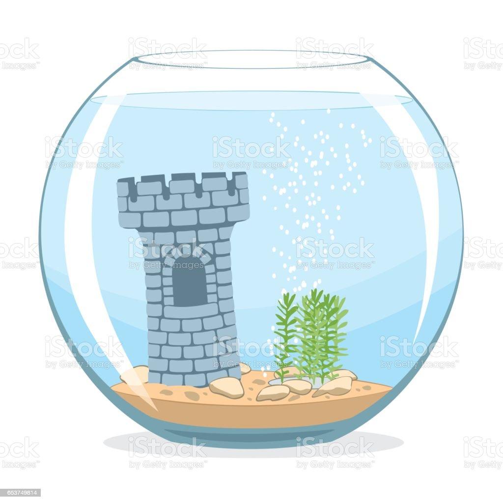 Fishbowl aquarium 벡터 아트 일러스트