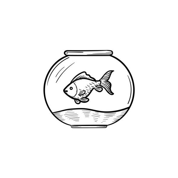 goldfischglas handsymbol gezeichnete skizze - fischglas stock-grafiken, -clipart, -cartoons und -symbole