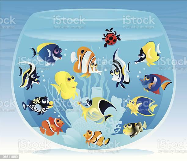 Fishbowl With Fish-vektorgrafik och fler bilder på Akvarium - Husdjurstillbehör