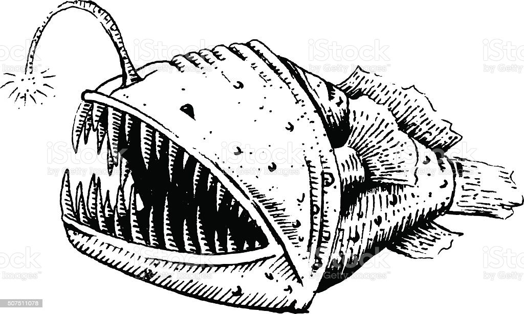 Fish-dog, fish, angler or sea devil vector art illustration