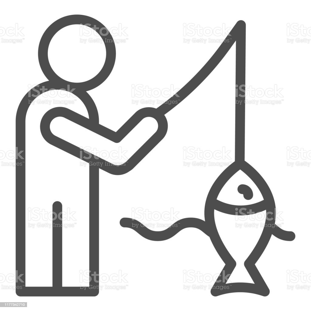 fisheman and catch line icon fishing on the river vector illustration isolated on white man with fish outline style design designed for web and app eps 10 stock illustration download image fisheman and catch line icon fishing on the river vector illustration isolated on white man with fish outline style design designed for web and app eps 10 stock illustration download image