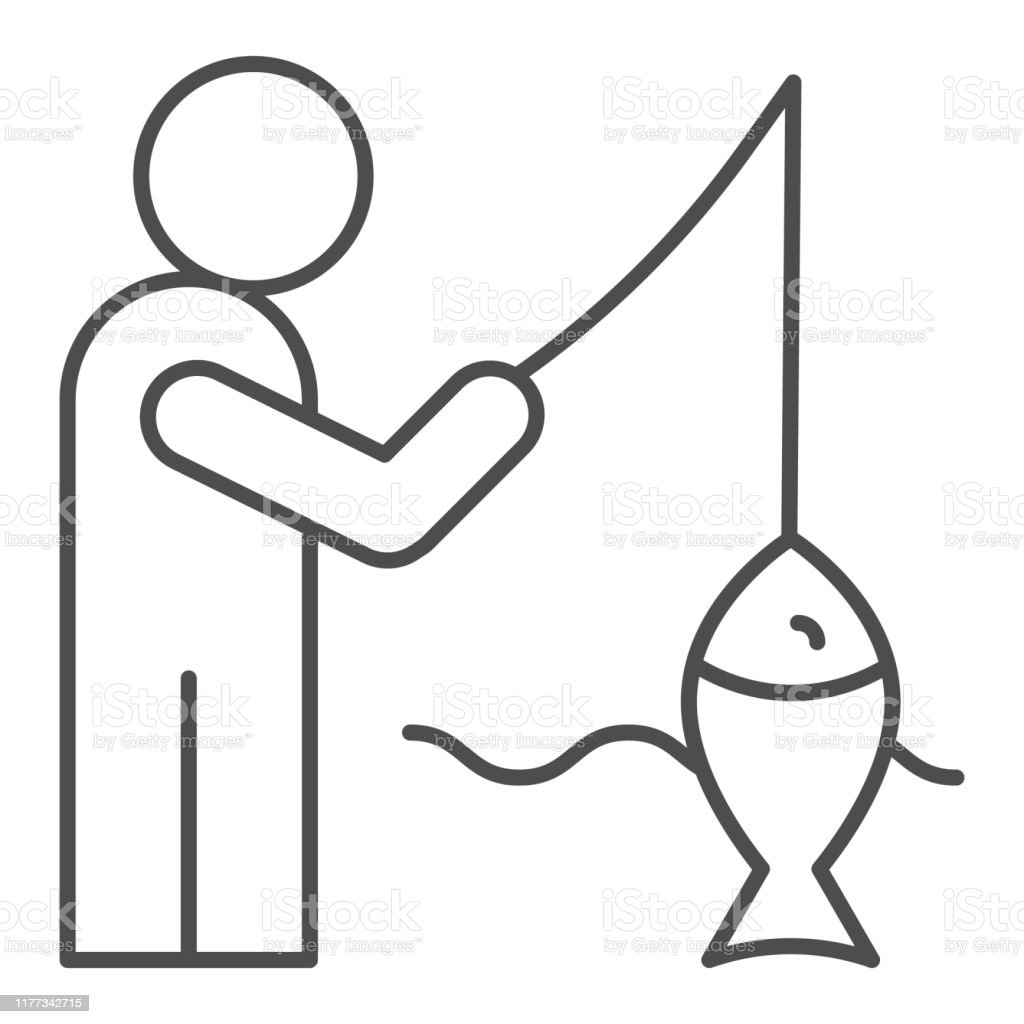 fisheman and catch thin line icon fishing on the river vector illustration isolated on white man with fish outline style design designed for web and app eps 10 stock illustration download fisheman and catch thin line icon fishing on the river vector illustration isolated on white man with fish outline style design designed for web and app eps 10 stock illustration download