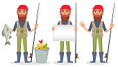 Fisher cartoon character, set of three poses. Fishermen with caught fish, with blank placard and with fishing rod. Vector illustration
