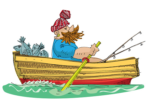 fisher in paddle boat